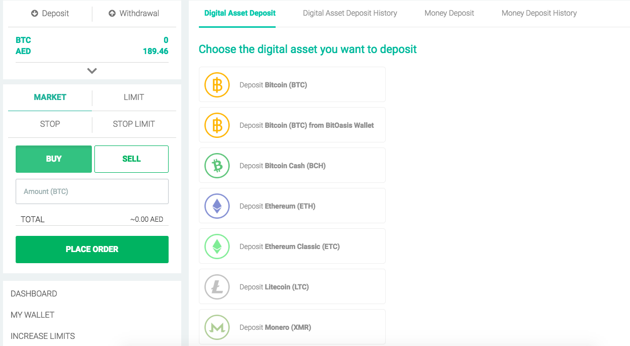 How do I deposit (BTC, ETH, XRP, LTC, BCH, ETC and XLM) from